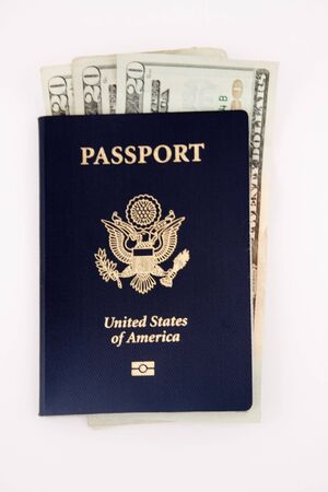 microchip passport with currency Фото со стока - 7700444