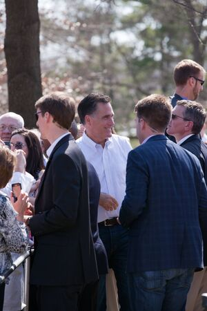 Kirkwood, Mo. 03-13-12 Mitt Romney greeting supporters while surrounded by secret service