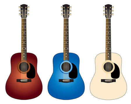 Three red, blue and yellow-white classical guitar photo