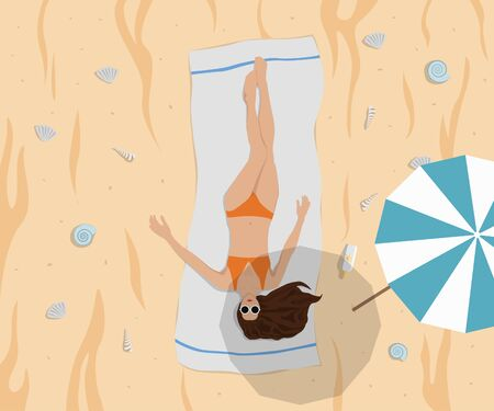Women Sunbath on Beach Vector Illustration. Properly Layered.