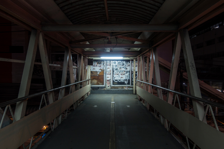 desolate: Bangkok, Thailand - 9 November 2015 : Desolate Overpass Walkway in the Downtown of Bangkok