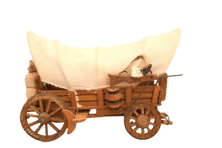 pioneer: Wooden  cart with sackcloth top isolated on white background