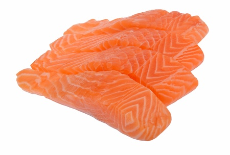 fillet: Four raw slices of salmon isolated on white background
