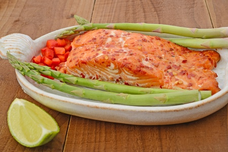 sweet chilli salmon with asparagus, red sweet pepper and lime Stock Photo - 19119246