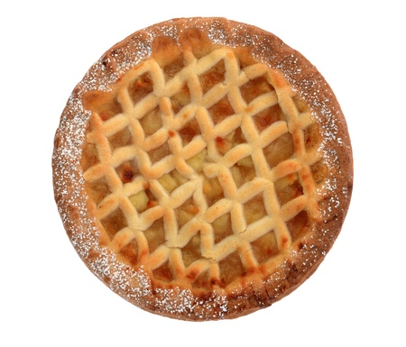 apple tart: Bramley apple lattice  homemade pie isolated on white