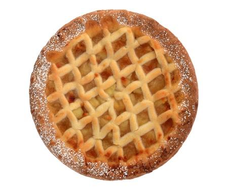 apple tart: Bramley apple lattice  homemade pie isolated on white