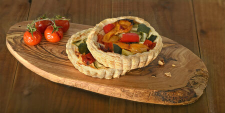 roasted vegetable quiche and tomato photo