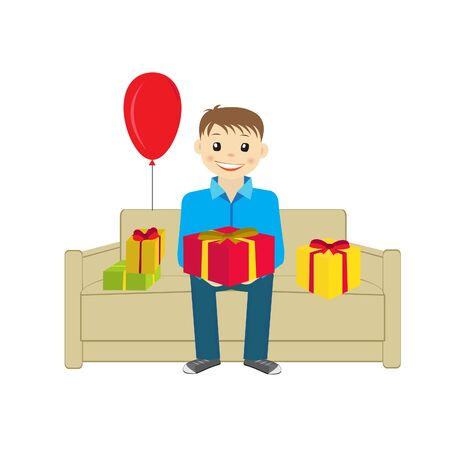 sitting sofa: Boy sitting on the sofa with presents vector