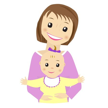 baby and mother: Mother and baby vector on white background