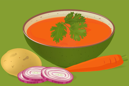 sliced: Carrots and coriander soup in a green bowl vector Illustration