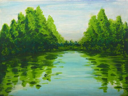tempera: Image of the Lake in the woods painting