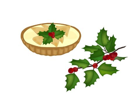 mince pie and a holy tree branch on white vector