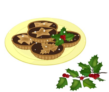 mince pies on a plate and a holy tree branch vector