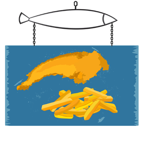 fish and chips on blue signboard vector