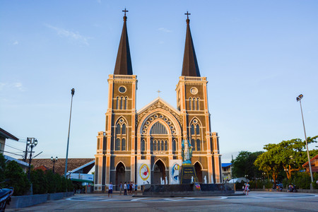 evening church: The most beautiful church in Thailand in the evening.