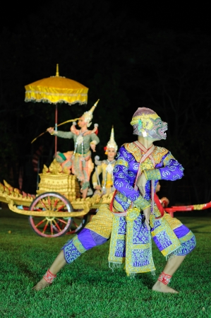 Thai classical masked play at Phimai Historical Park , Thailand photo