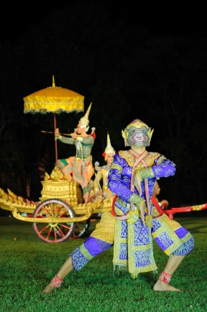 Thai classical masked play at Phimai Historical Park , Thailand photo