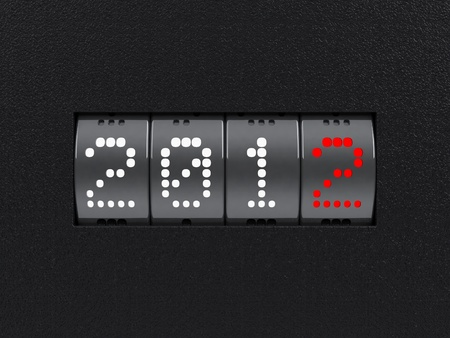 Design component of a counter dial that is showing the year 2012. Stock Photo