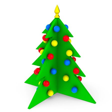 christmas tree illustration: Colorful Christmas tree with toys isolated on white background  3d symbolic New Year