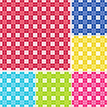 Old fashioned gingham check pattern for scrapbooks, restaurants, fabrics, arts, crafts and decorating  Pattern swatch will seamlessly fill any shape  Six color palettes - red, blue, gold, lime, magenta and turquoise  Vector
