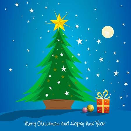 estrella caricatura: Hermoso árbol de Navidad con regalos en la noche para la postal saludo, tarjeta, decoración, diseño.