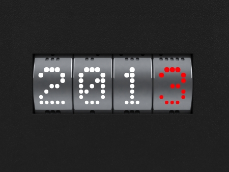 Design component of a counter dial that is showing the year 2013  Stock Photo