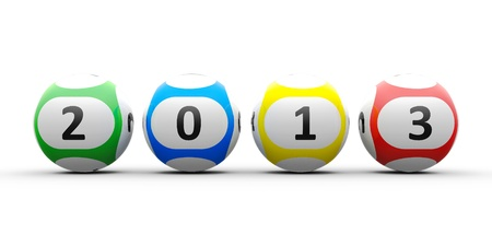 3d rendering of lottery balls on a white table represents the new 2013