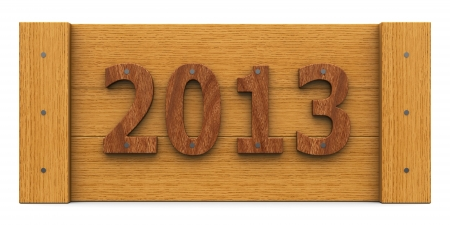 2013 year made of wood  whole, isolated  Stock Photo - 16478104