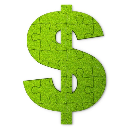 Dollar sign is represented in the puzzle Stock Photo
