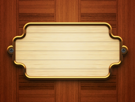 Wooden doorplate on the wooden background Stock fotó