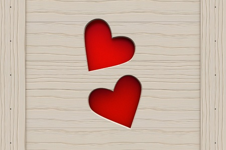 Two cutout hearts in a wooden board  Valentine photo