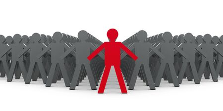 3d image of a red leader ahead other people Stock Photo - 16819737