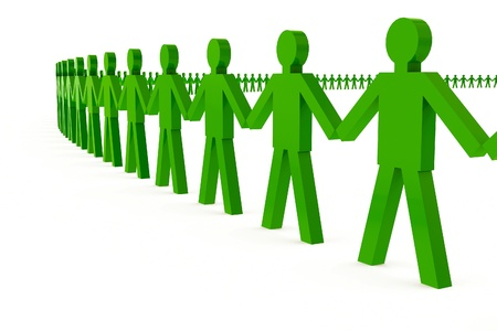 unification: 3d people holding hands in a big circle Stock Photo