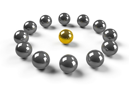 only members: Twelve chromized balls around of one gold ball symbolize - LEADERSHIP