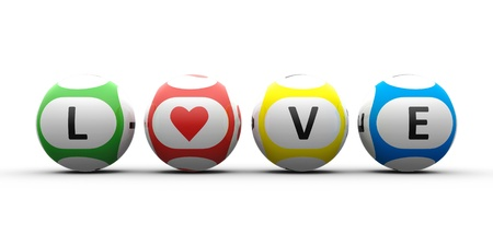 3d rendering of lottery balls on a white table represents symbol of love  Valentine photo