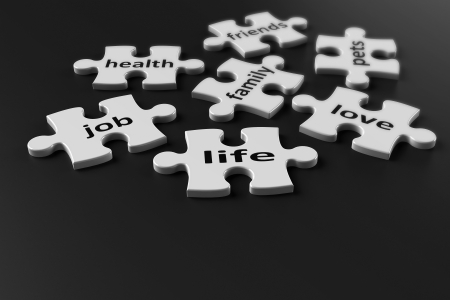 patience: Life is like a puzzle  Life consists of many components, 3d rendering