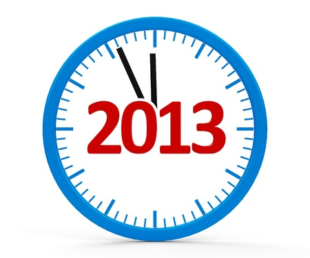 Modern isolated 3d clock on white background represents new year 2013