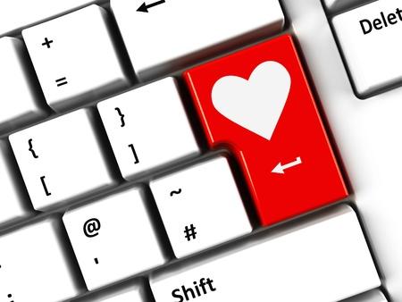 Computer keyboard with love key, Valentine