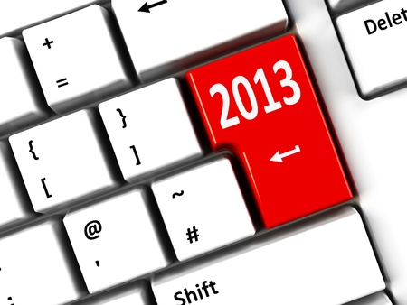 Computer keyboard with 2013 key, three-dimensional rendering Stock Photo