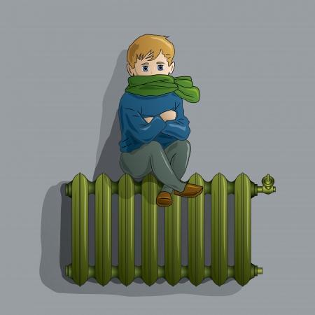 gusseisen: Gefrorene Junge auf einem warmen alte Heizk�rper
