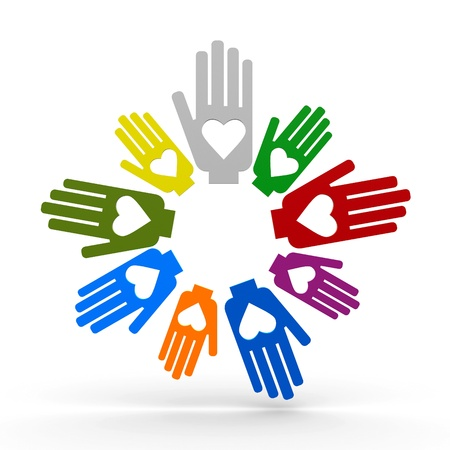 Happy volunteering hands representing love, three-dimensional rendering Stock Photo