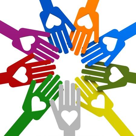 Happy volunteering hands representing love, three-dimensional rendering Stock fotó
