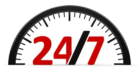 The logo of round-the-clock on white background represents 24 hours service, three-dimensional rendering