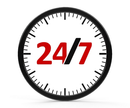 represents: The logo of round-the-clock on white background represents 24 hours service, three-dimensional rendering