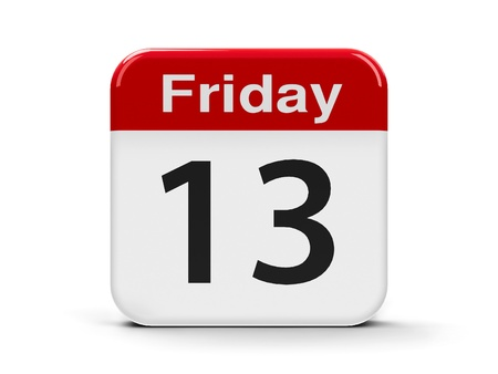 superstitions: Calendar web button - 13th Friday, three-dimensional rendering