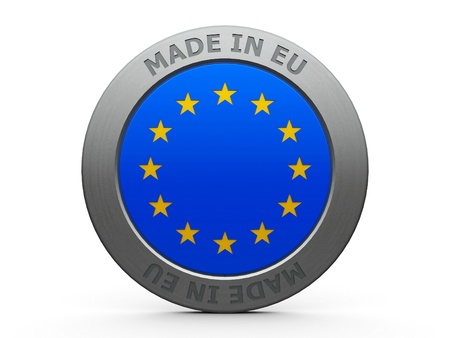 Emblem - made in EU, three-dimensional rendering