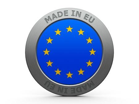 Emblem - made in EU, three-dimensional rendering
