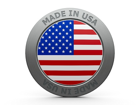 made in: Emblem - made in USA, three-dimensional rendering