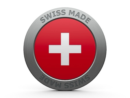 zwitserland vlag: Embleem - Swiss made, drie-dimensionale weergave Stockfoto