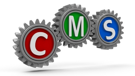 e systems: CMS gears - concept of content management system, three-dimensional rendering Stock Photo